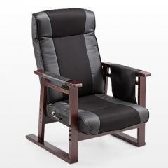 高座椅子(リクライニング・PUレザー&メッシュ・肘付き・ブラック)